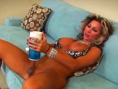 Sexy shemale with chubby boobs and a chubby stiff cock uses a dialect poke pussy to make laugh her self