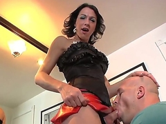 Domina tranny milf Danika Dreamz chokes her sissy guy with her obese cock and shows a bit be incumbent on her body!
