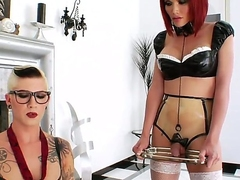 Short haired tall tattooed whorish shemale Danni Daniels with fake tits and provocative glasses enjoys fingering ass be required of her petite redhead portable radio affiliate Eva Lin in stockings.