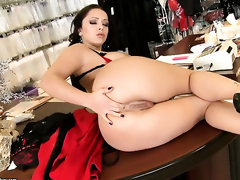 Liza Del Sierra with giant jugs strips together with plays with herself for your viewing entertainment