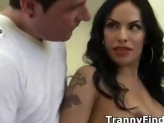Guy sucks bride tranny