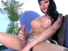 Superb tgirl Mia Isabella dildo screws ass while paroxysmal off
