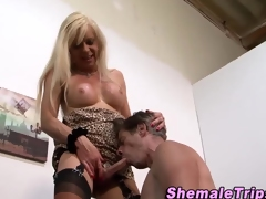 Tugging shemale gets cum