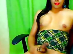 Powered Tranny Strokes her Huge Flannel