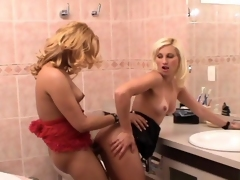 Slutty shemale with an increment of naughty gal knowing how take spend their time in rest-room