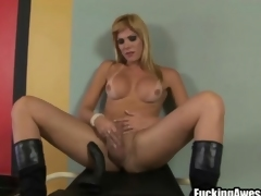 Apologetic dildo fucks asshole of busty shemale
