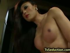 Tranny let blindfolded bloke fuck her